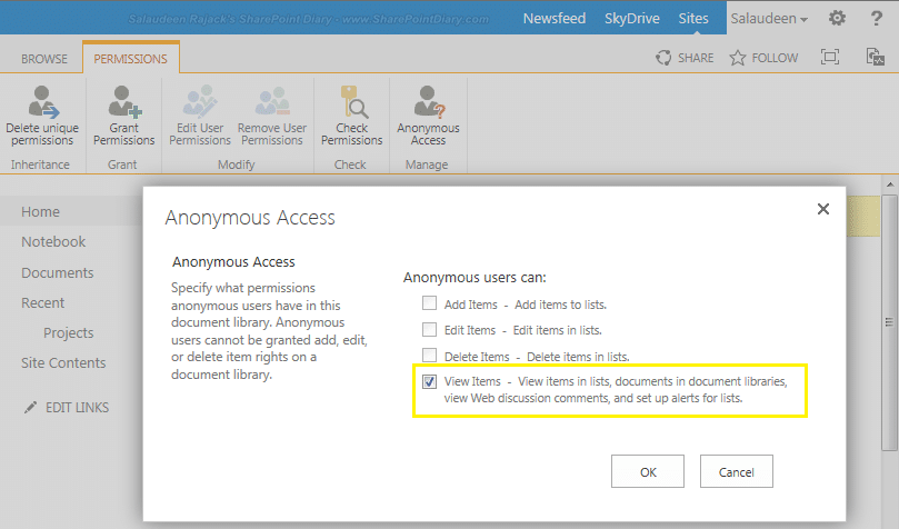 sharepoint anonymous access write