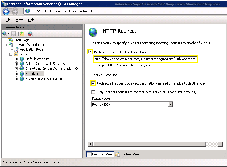 How to redirect to a subsite in sharepoint