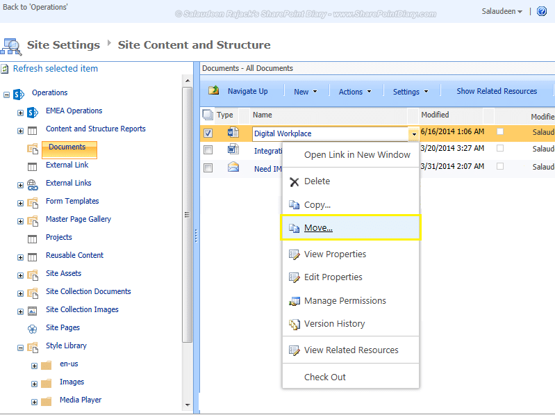 sharepoint move files with version history