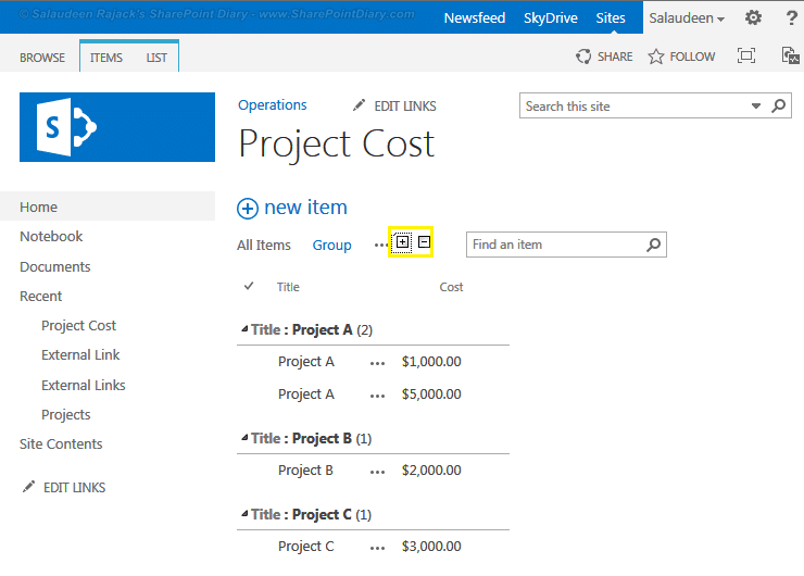 expand all collapse all in sharepoint list grouped items