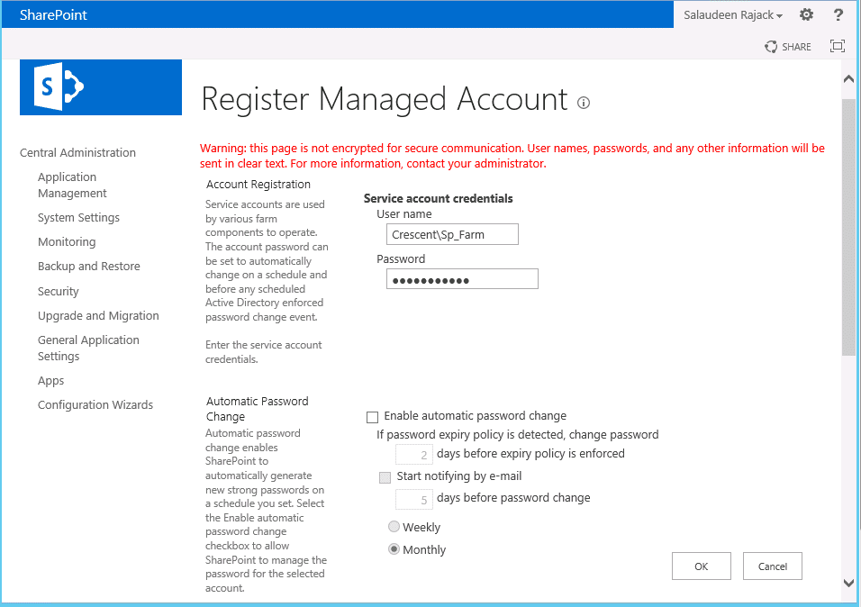 create managed accounts in sharepoint 2013