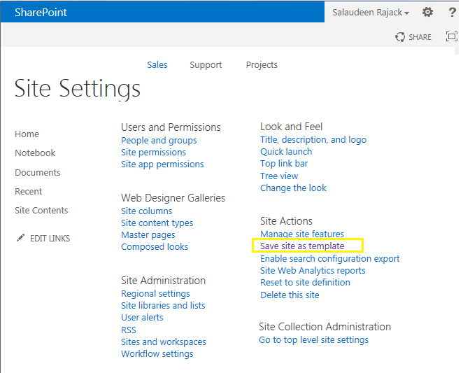 save site as template sharepoint 2013