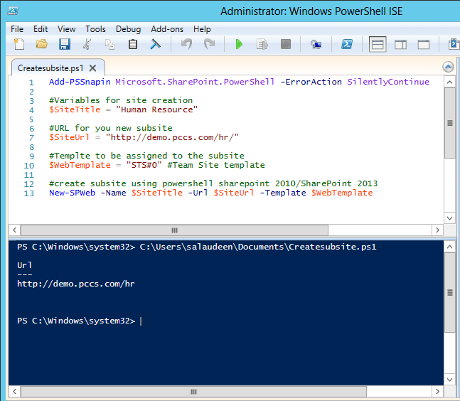 create sharepoint subsite with powershell