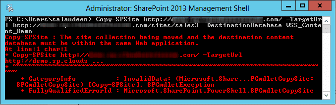 copy sharepoint site to another web application