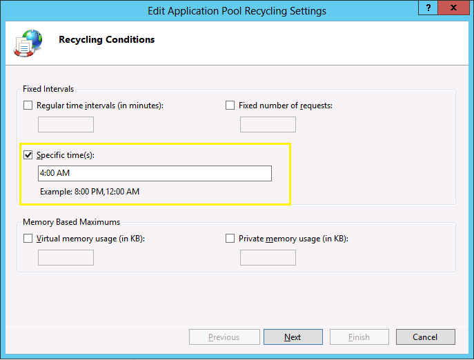 sharepoint 2013 app pool recycle time