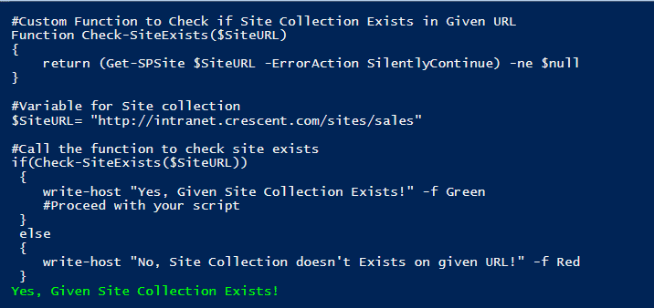 sharepoint powershell check if site exists