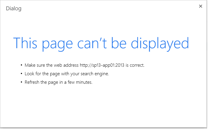this page cant be displayed error