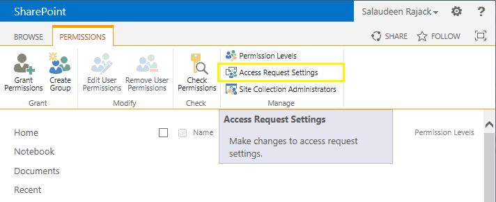 access request settings