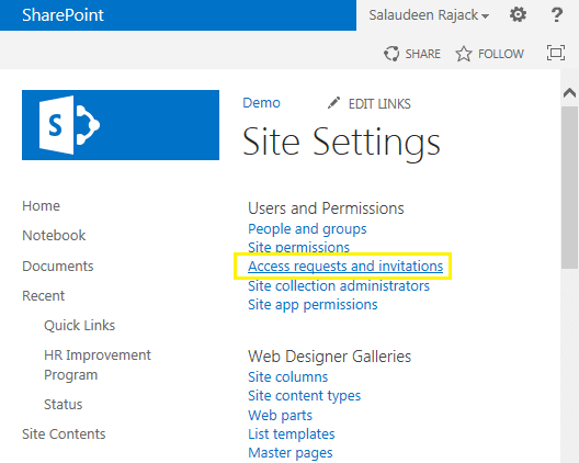 access request sharepoint 2013