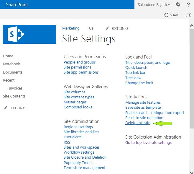 delete subsite sharepoint 2013