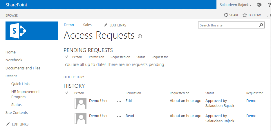 sharepoint 2013 access request history