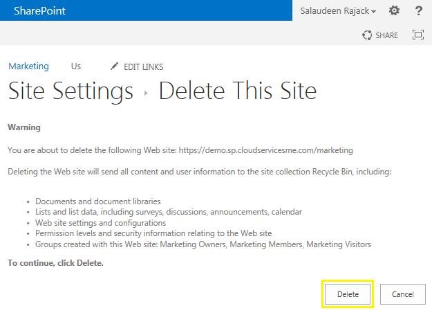 delete subsite sharepoint 2013 powershell