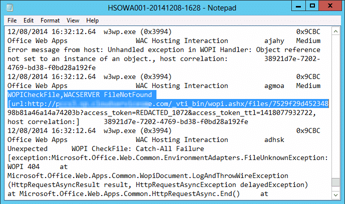 Office Web Apps Issue with SharePoint 2013 - WOPICheckFile,WACSERVER FileNotFound