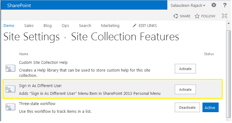 how to enable sign in as different user in sharepoint 2013