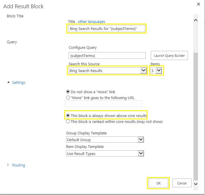 sharepoint 2013 federated search bing