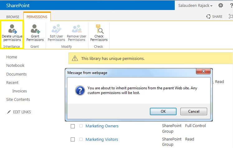 delete unique permissions