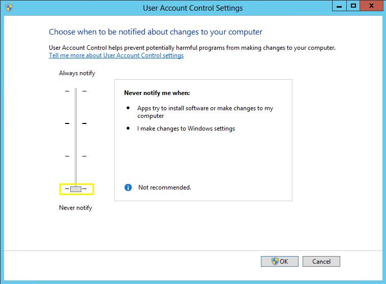 disable uac ffor SharePoint server