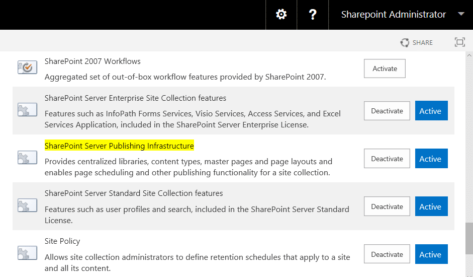 sharepoint online activate publishing feature powershell