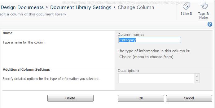 sharepoint column delete button missing