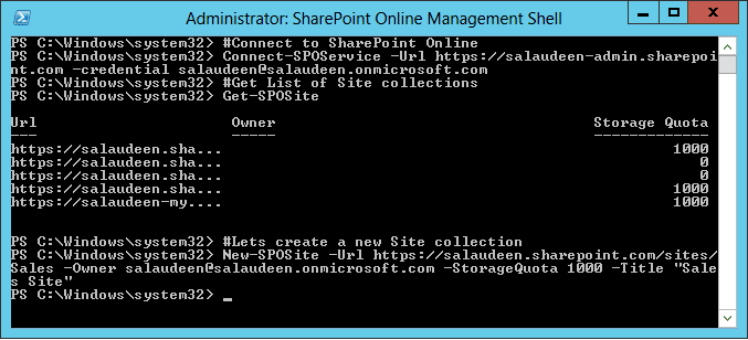 powershell script to connect to sharepoint online