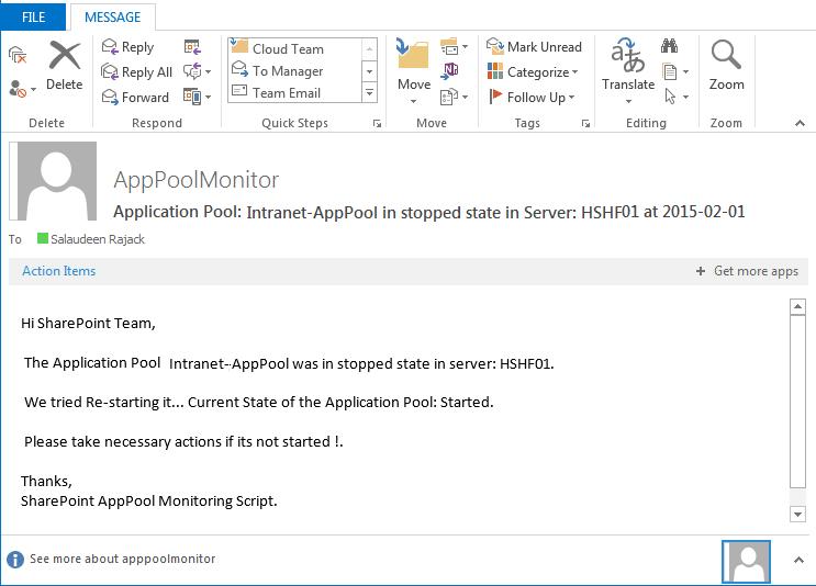application pool status alert