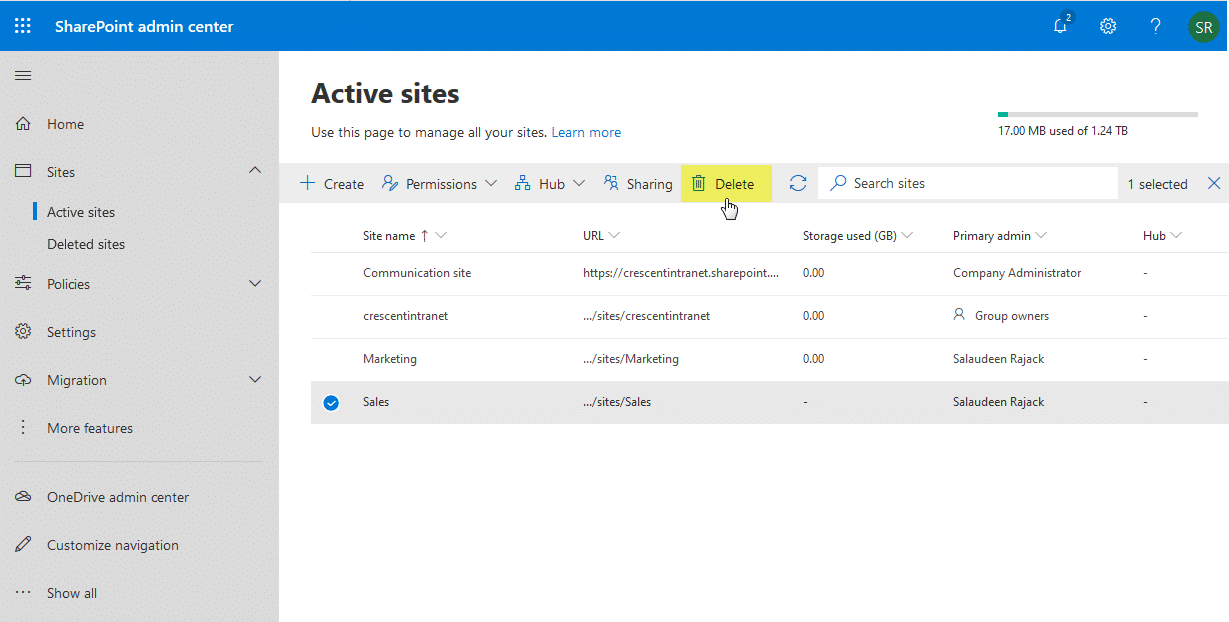 delete sharepoint online site using powershell