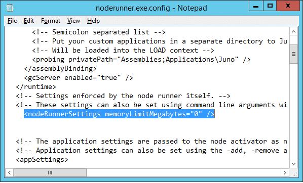 sharepoint 2013 noderunner memory limit