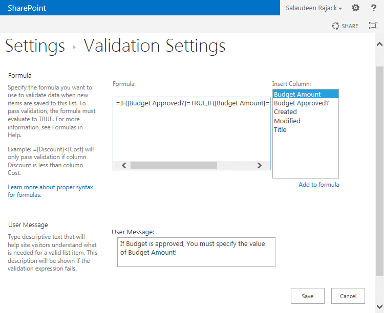 add validation rule in sharepoint 2013