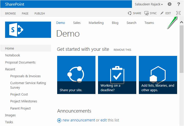 sharepoint 2013 remove focus on content full screen button