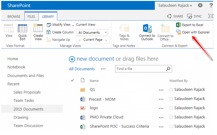 hide open with explorer in sharepoint 2013