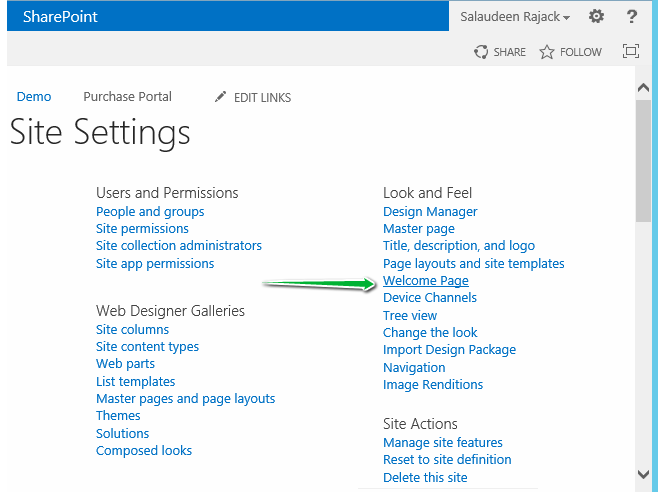 sharepoint 2013 change home page