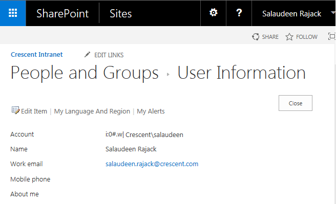 update user email in sharepoint