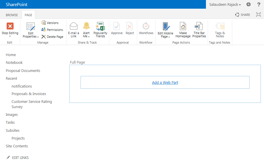 how to add a new web part page in sharepoint 2013