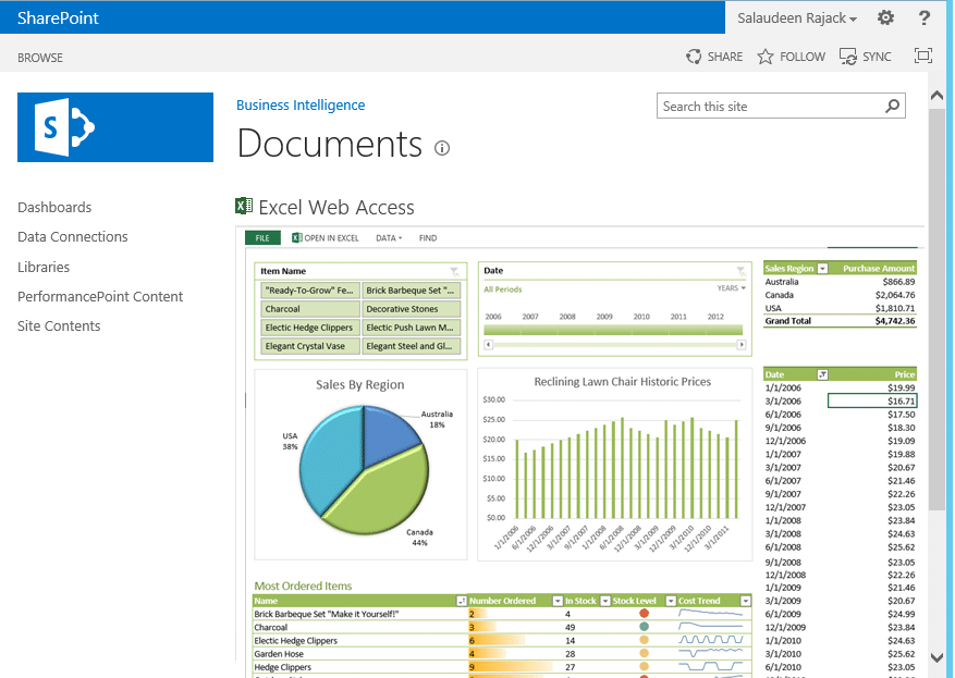 excel web access sharepoint 2013