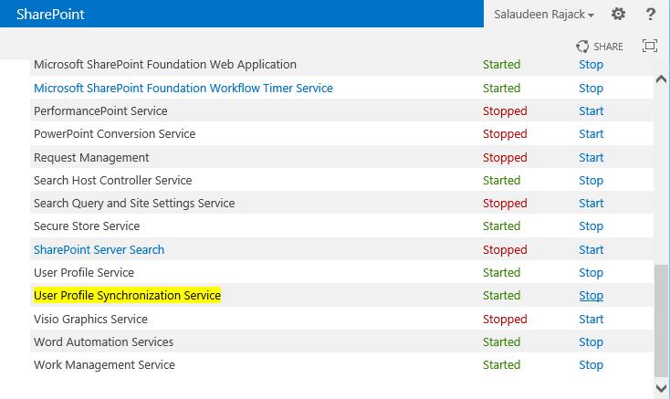start user profile synchronization service in sharepoint 2013