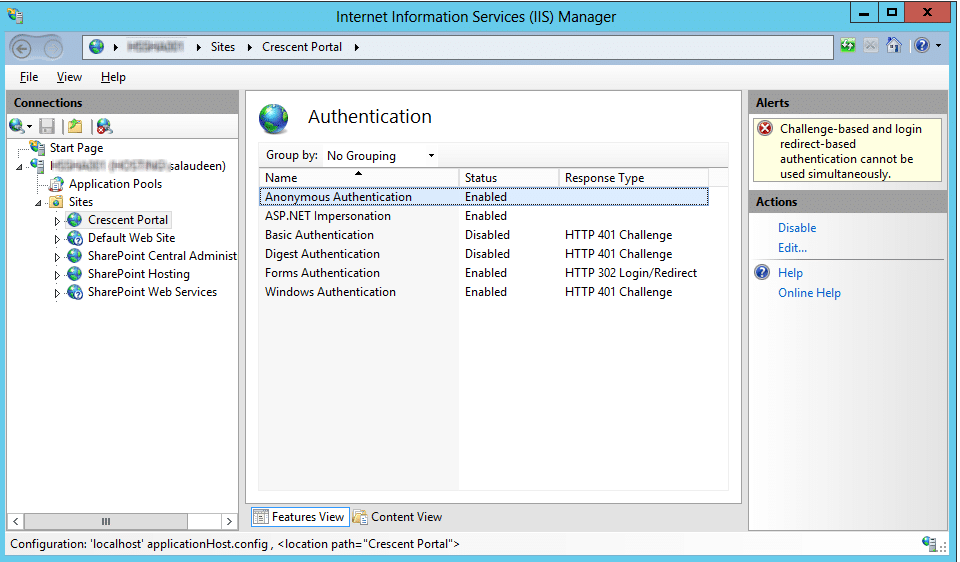 enable anonymous authentication