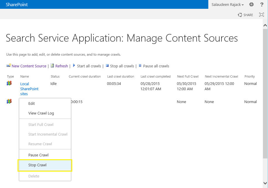 force stop crawl sharepoint 2013 powershell