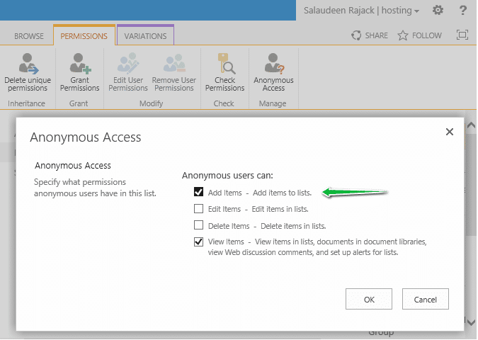 sharepoint 2013 anonymous add new item