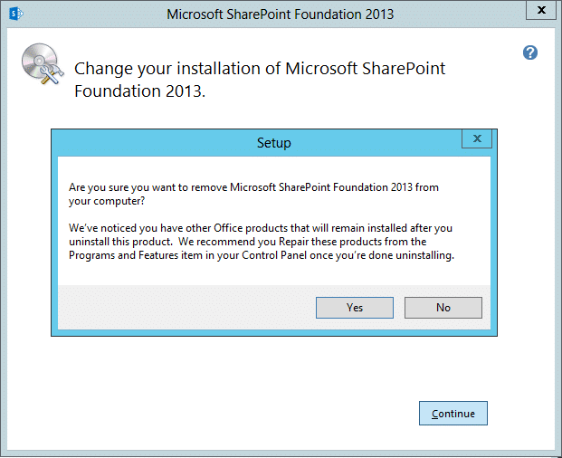 uninstall sharepoint 2013 server
