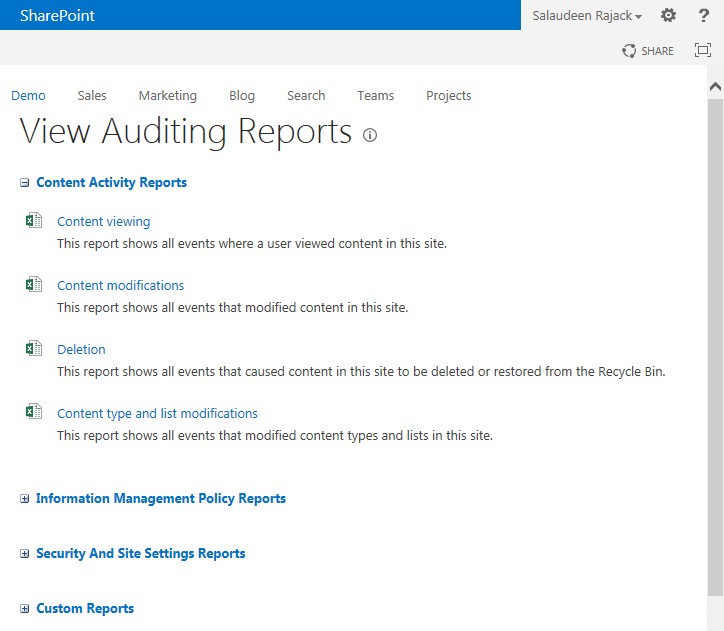 sharepoint 2013 view audit log reports