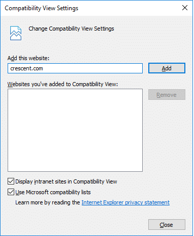 add site to compatibility view settings