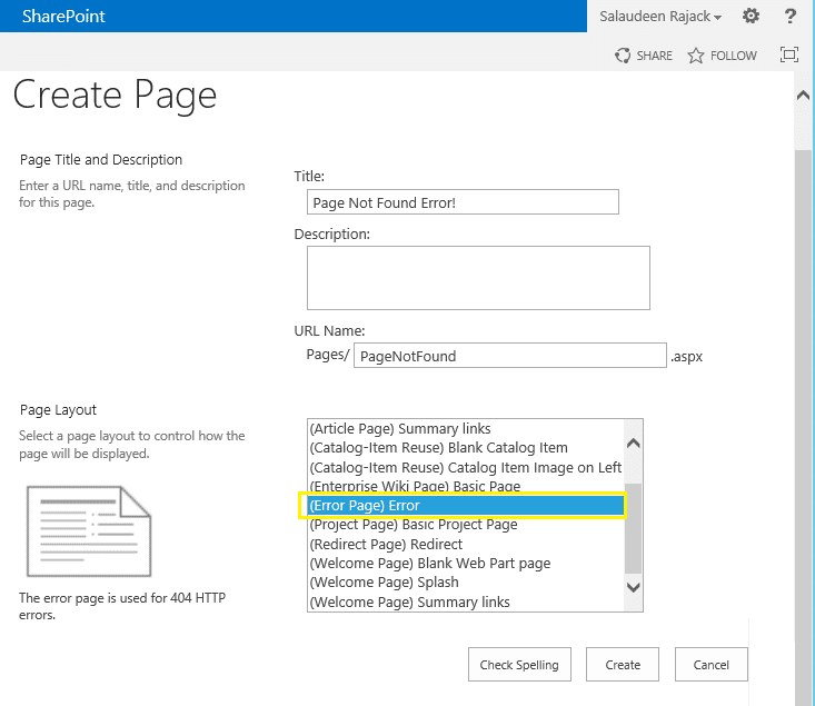 sharepoint 404 page for site collection