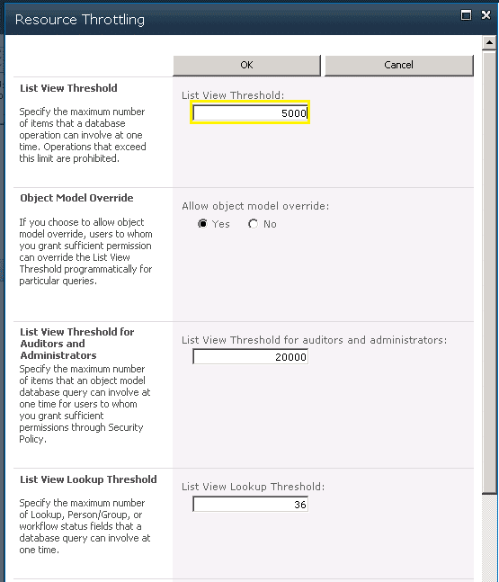 How to Increase List view threshold value in sharepoint 2010