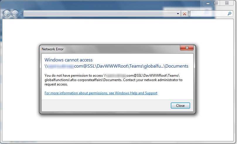 network error windows cannot access siteurl