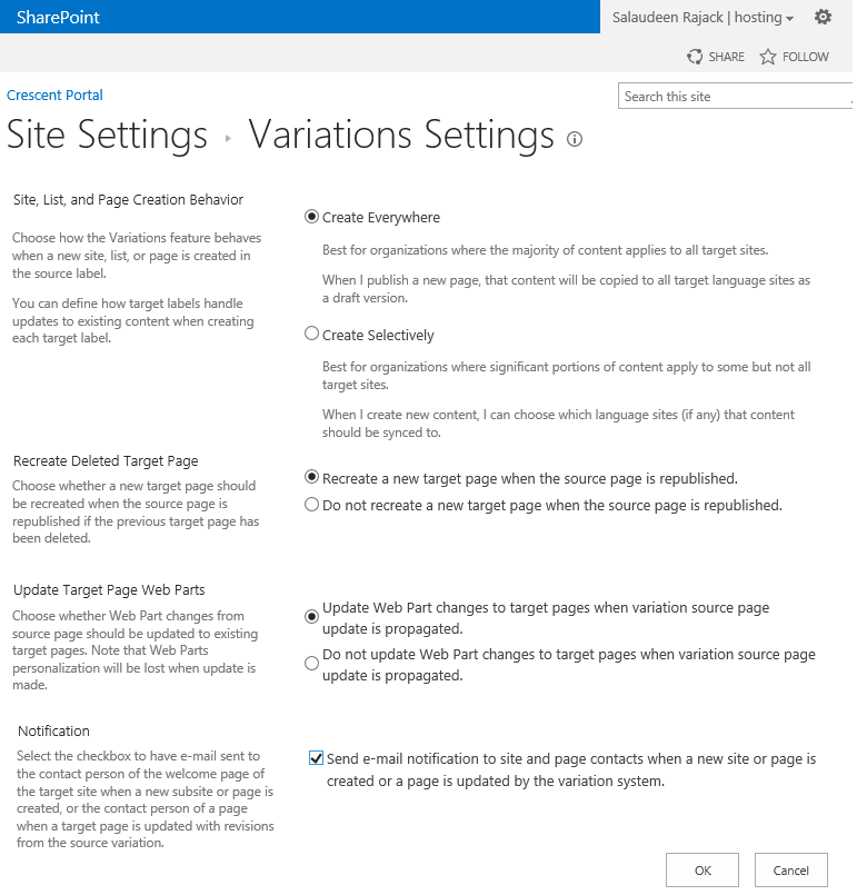 variation settings sharepoint 2013