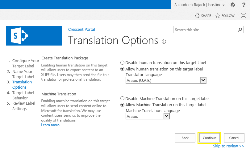 variation labels in sharepoint 2013