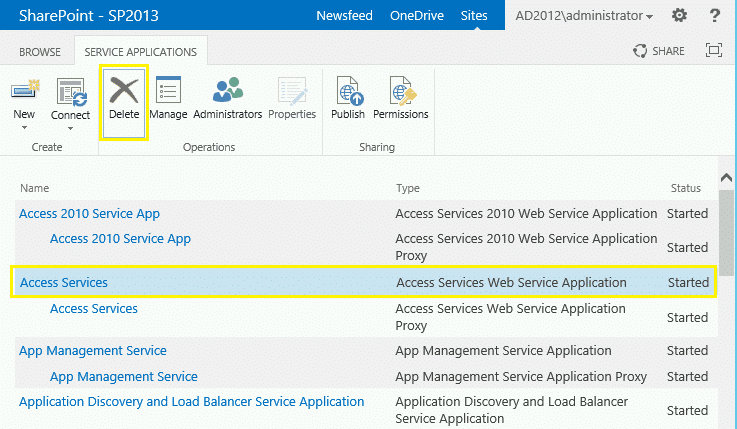 delete service application in sharepoint 2013