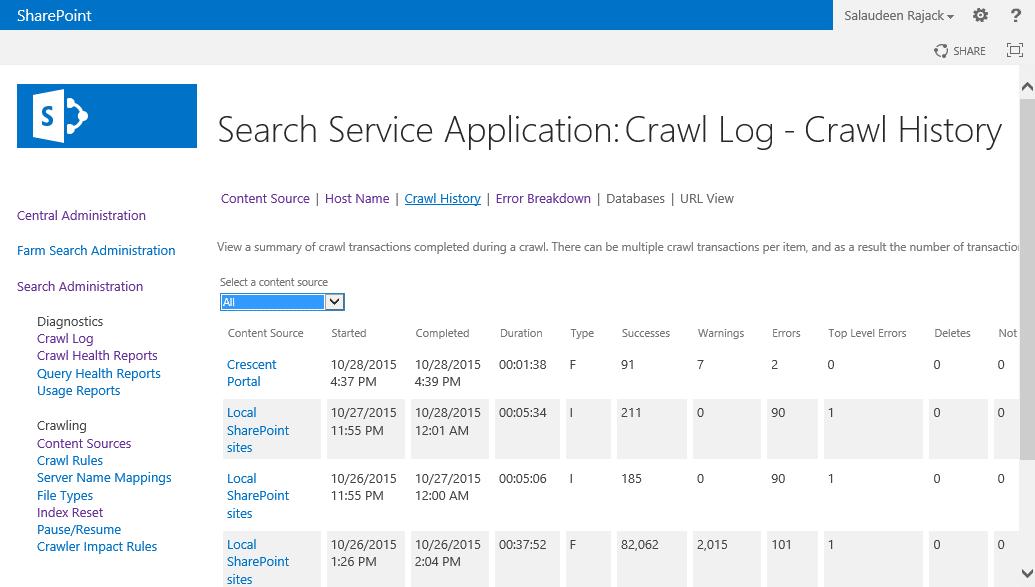 sharepoint 2013 search crawl log history