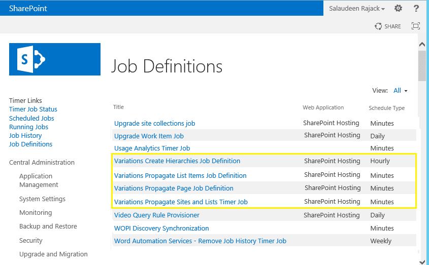 SharePoint 2013 Variation Timer Jobs