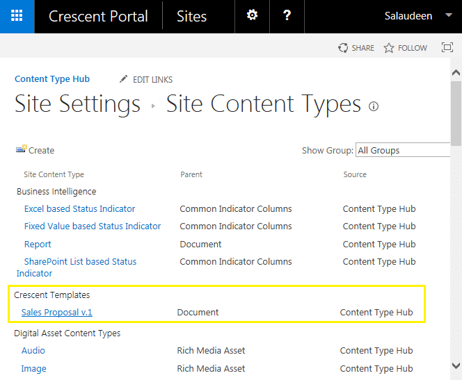 how to publish content type hub in sharepoint 2013